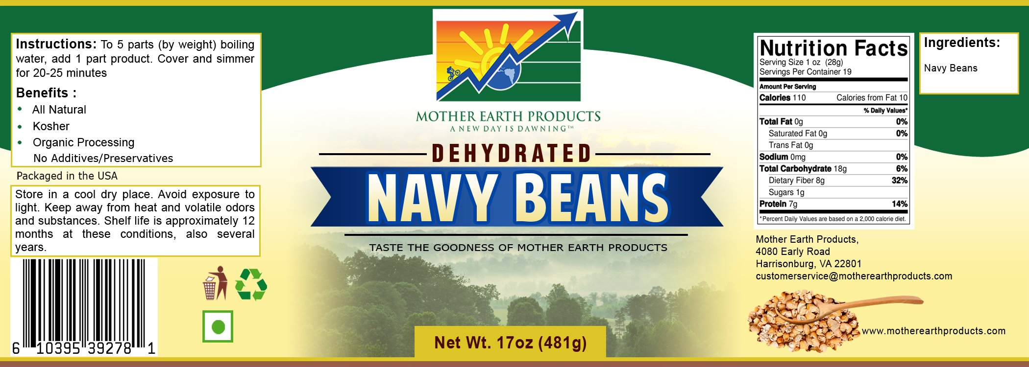 Mother Earth Products Dehydrated Fast Cooking Navy Beans, Quart Jar
