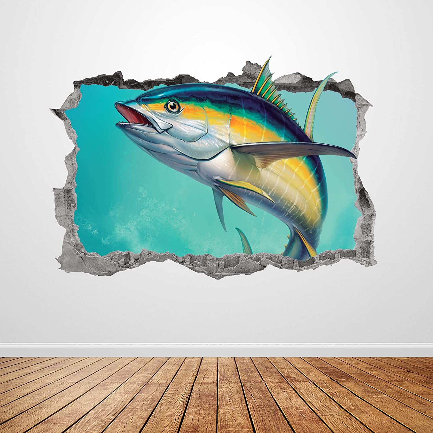 """Fish Wall Decal Art Smashed 3D Graphic Sports Tuna Fishing Wall Sticker Mural Poster Room Home Garage Decor Gift UP392 (50""""W x 34""""H inches)"""