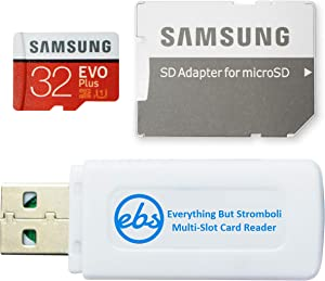 Samsung Evo Plus 32GB Micro SDHC Memory Card Class 10 Works with Android Phones - Galaxy A51, A50, A40, A30 (MB-MC32G) Bundle with (1) Everything But Stromboli MicroSD & SD Card Reader