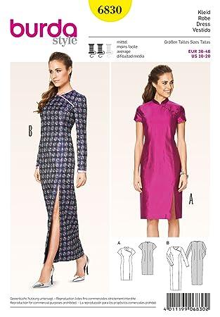 Burda Damen Schnittmuster 6830 – Chinesischer Stil Kleid in 2 Längen ...