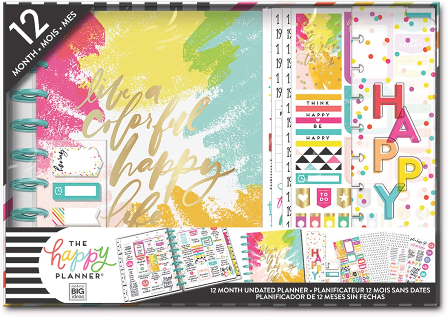 me & my BIG ideas The Happy Planner Box Kit - Live A Happy Colorful Life Theme - 12 Month Undated - Monthly Layout - 552 Stickers, 1 Bookmark, 3 Sticky Note Pads, 12 Dividers - Classic Size