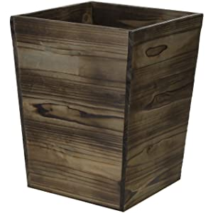 MyGift Dark Brown Wood Waste Bin, 14-Inch Wastebasket