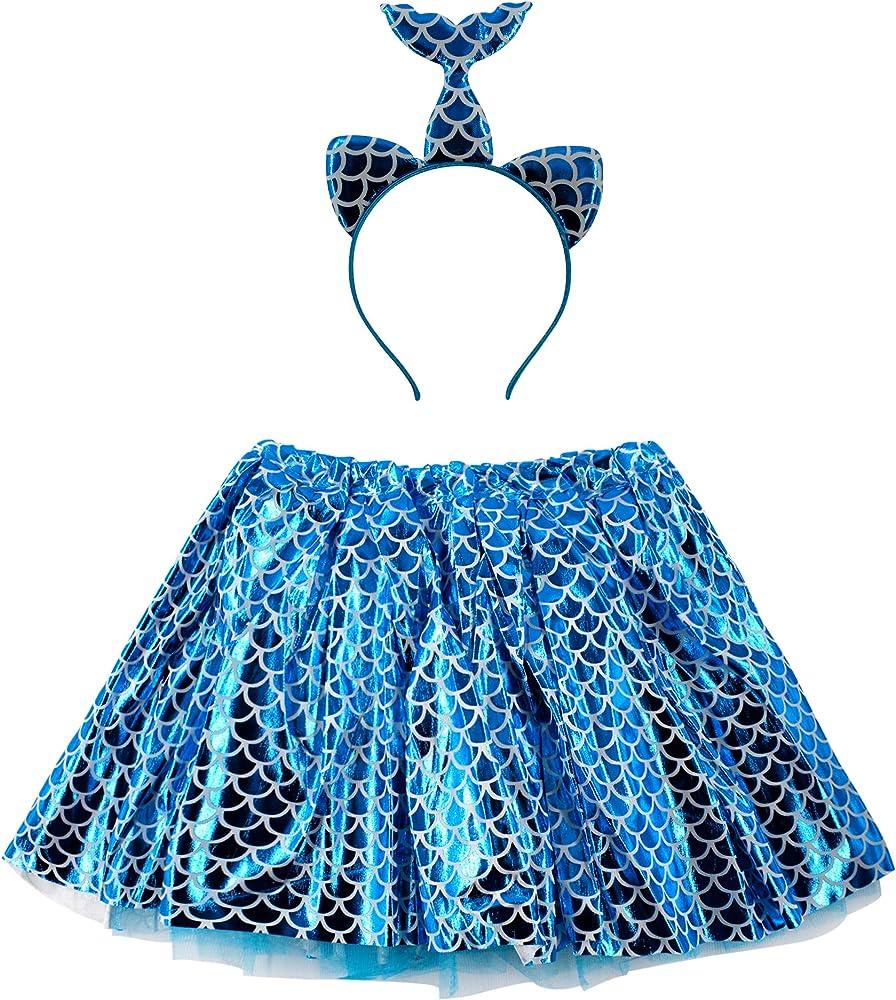 Disfraz de Sirena Falta Tutu Mujer de Baile con Diadema con Brillo ...