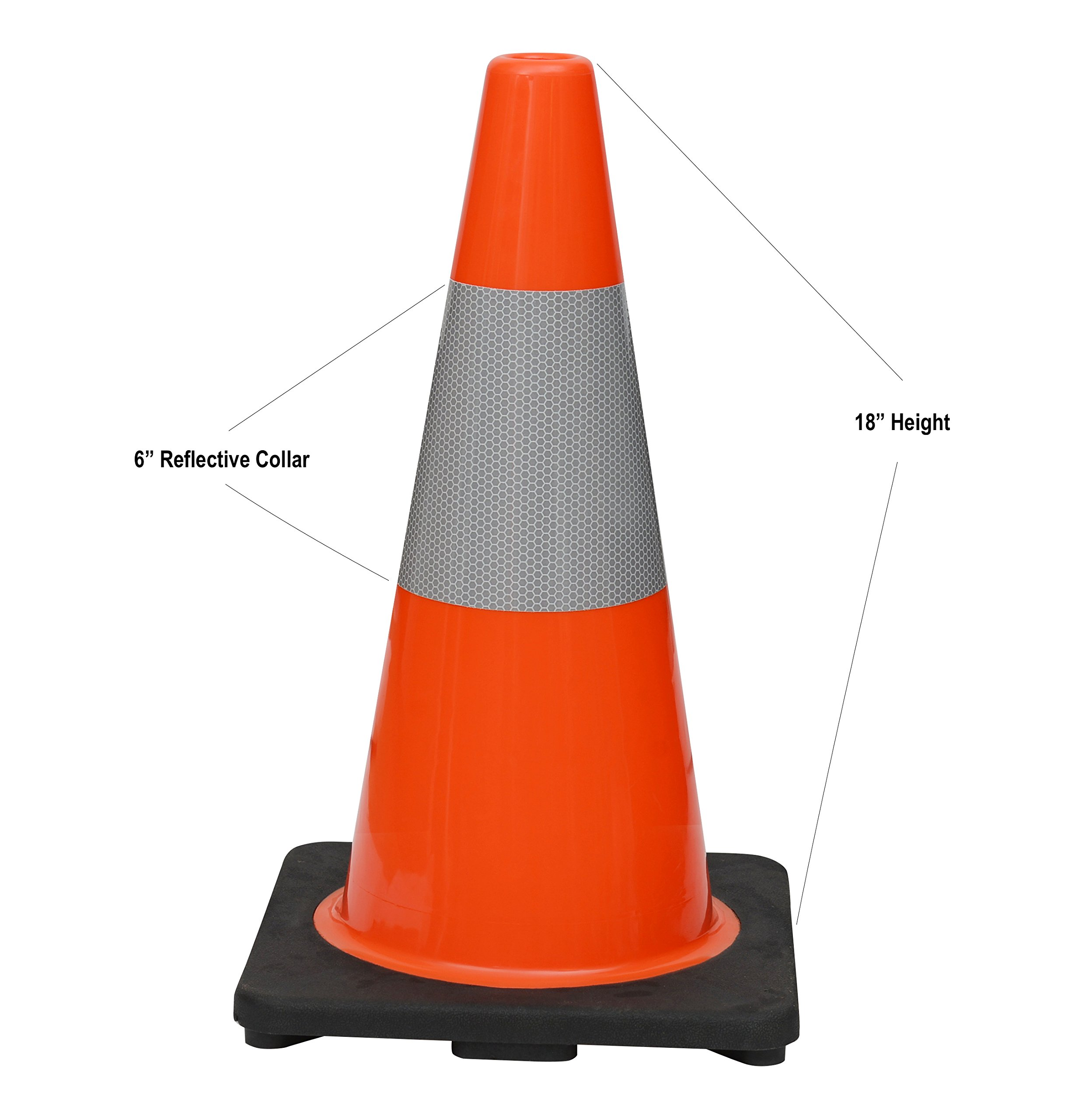 (Set of 6) CJ Safety 18'' Black Base Orange PVC Traffic Safety Cones with 6' Reflective Collar (6 Cones)