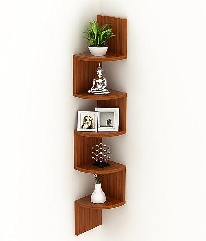 BLUEWUD Wooden Morpheus Corner Wall Decor 5 Shelfs with Zigzag Display Rack