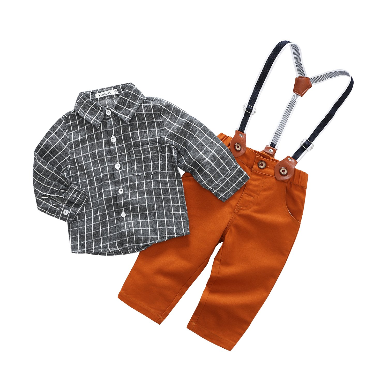 Kimocat Baby Boy Casual Suit 2pcs Cotton Long Sleeve Plaid Button-Down Shirt Pant With Suspenders Outfits Clothes Set (6/12M)