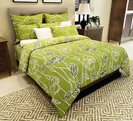 Home Candy 144 TC 100% Cotton Attractive Green Flowers Double Bed Sheet  With 2 Pillow