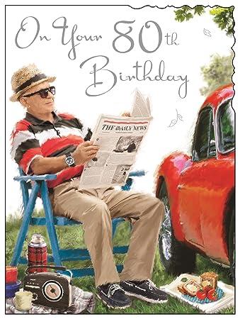 Greeting Card Jj4160 Male 80th Birthday Man Reading A Newspaper