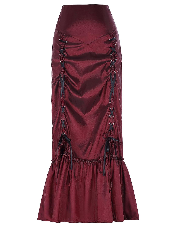 TALLA S. Yafex Faldas Victoriana Maxi Sirena Pliegues Plisada Vintage Elástica ES000208