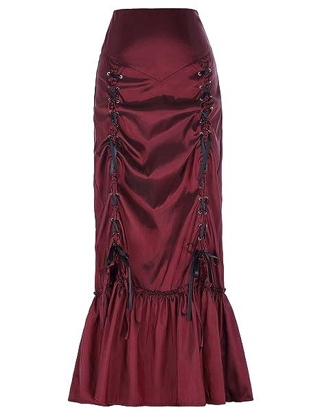 Mujeres Faldas Largas Estilo Victoriano Con Apligues Plisada Marrón S