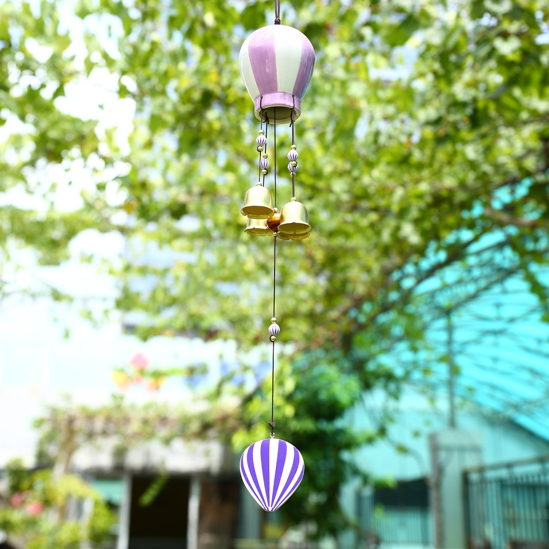 Soledi Wind Chimes Ceramic Purple Creative Hot-air Balloon