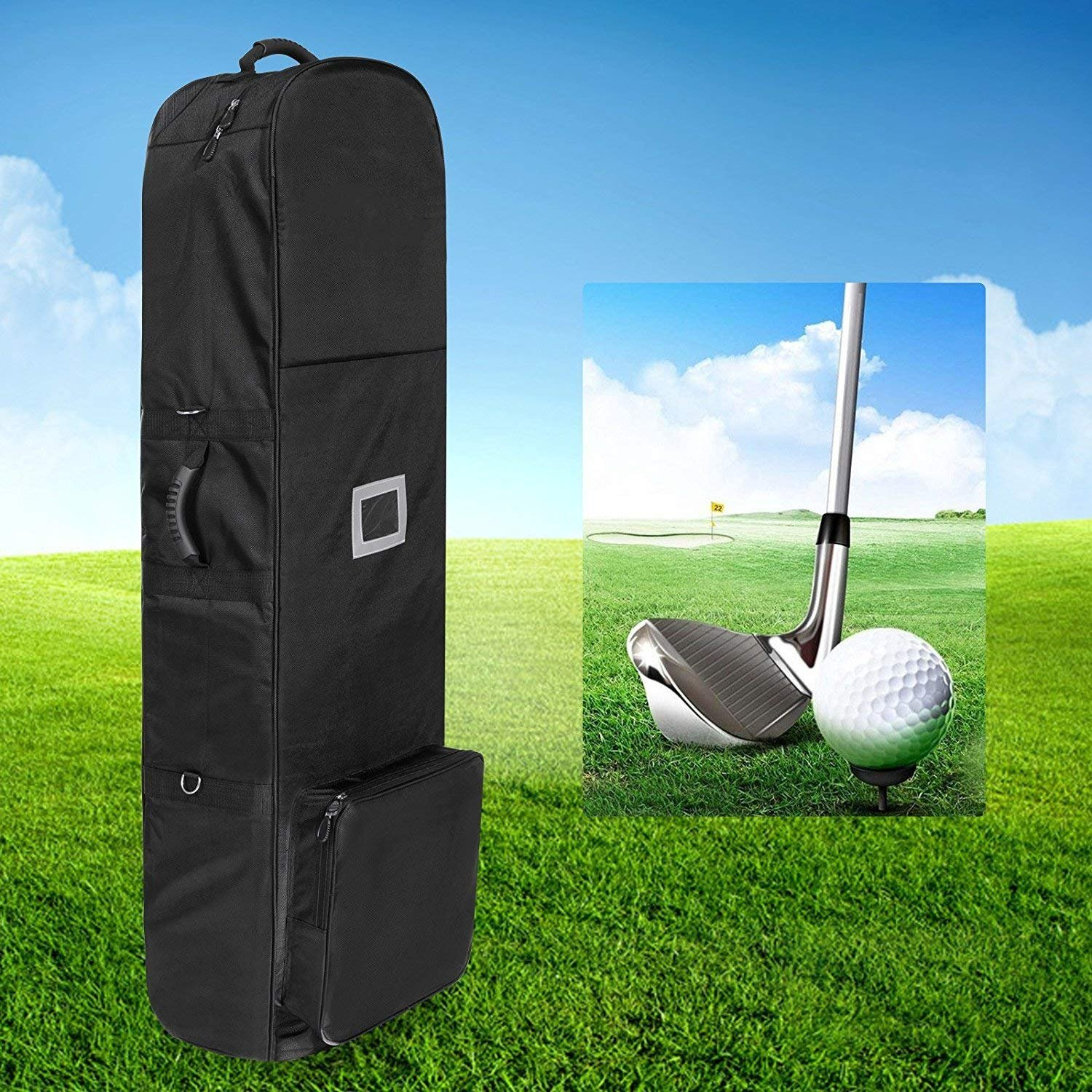 Lantusi Golf Bag Travel Cover Case with Wheels, Black Oxford (US STOCK)