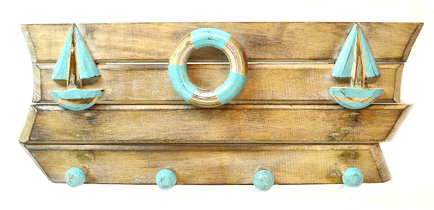 Amazon.com: Hand Carved SAILBOAT BUOY ANCHOR TOWELS Pallet Hanger ...
