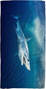 Bisead 30×60 Inch Beach Towel,Shark Short Fin -,Beach Pool Travel,Large Absorbent Quick Dry,White Pink