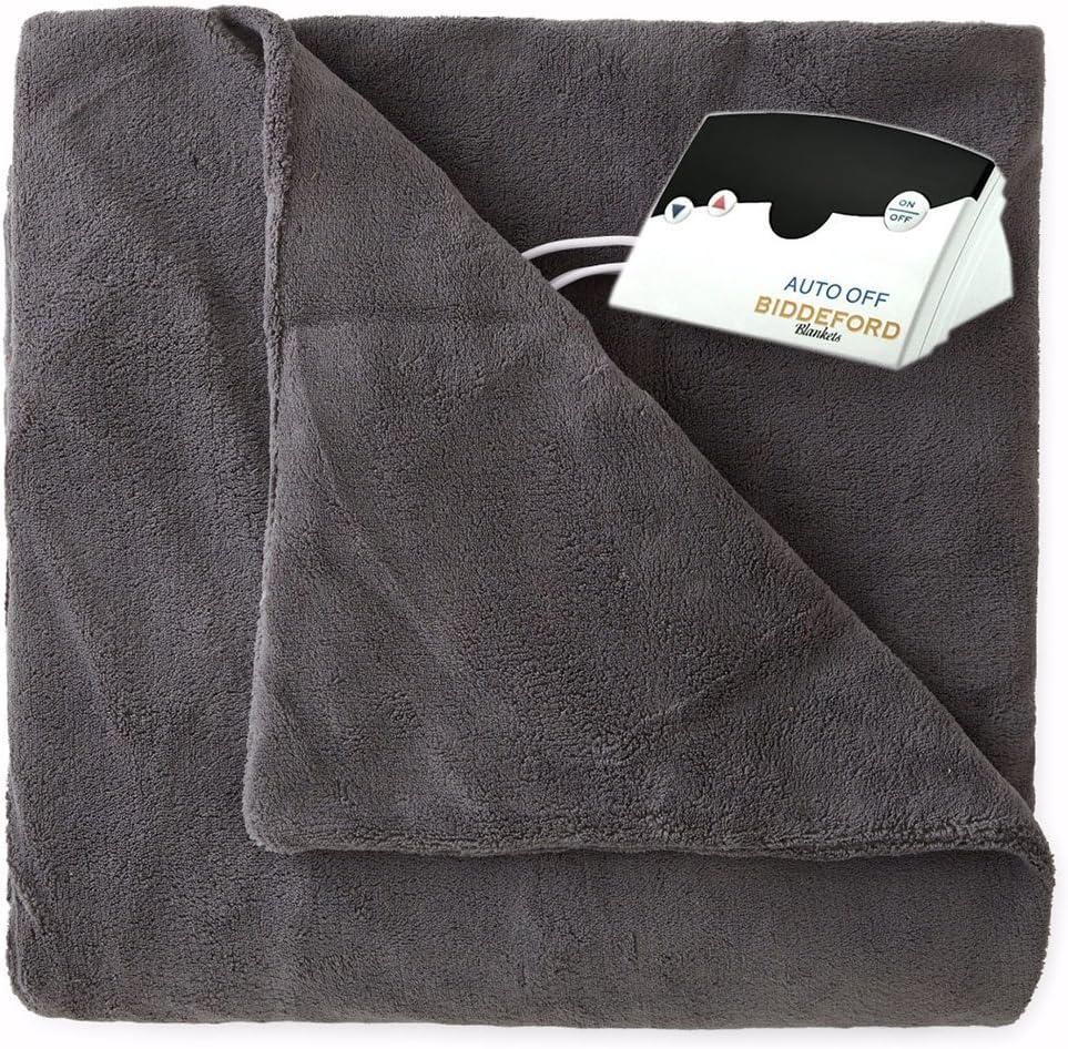 Biddeford 2030-905291-902 MicroPlush Electric Heated Blanket Twin Grey