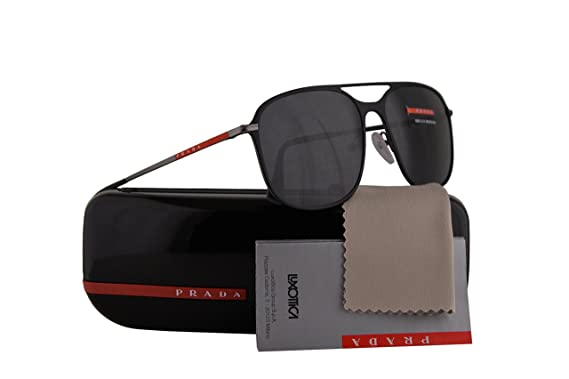 5baab7e305e Prada PS53TS Sunglasses Black Rubber Gunmetal Rubber w Grey Lens 56mm  DG05S0 SPS53T PS 53TS SPS 53T  Amazon.co.uk  Clothing