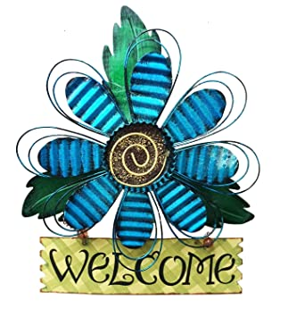 Amazoncom Large Rustic Metal Blue Flower Welcome Wall Art Decor