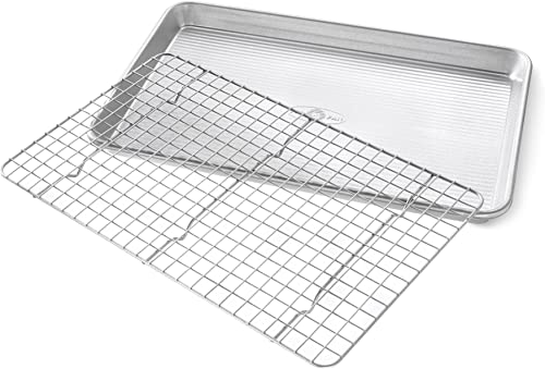 USA Pan Jelly Roll Baking Pan and Bakeable Nonstick Cooling Rack