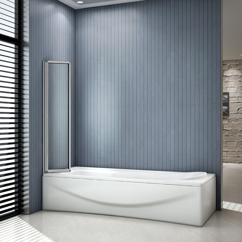 Mampara para bañera o ducha, plegable y giratoria con cristal templado transparente de 120 x 140 cm y 4 mm de grosor, en aluminio extruido por electroforesis.: Amazon.es: Bricolaje y herramientas