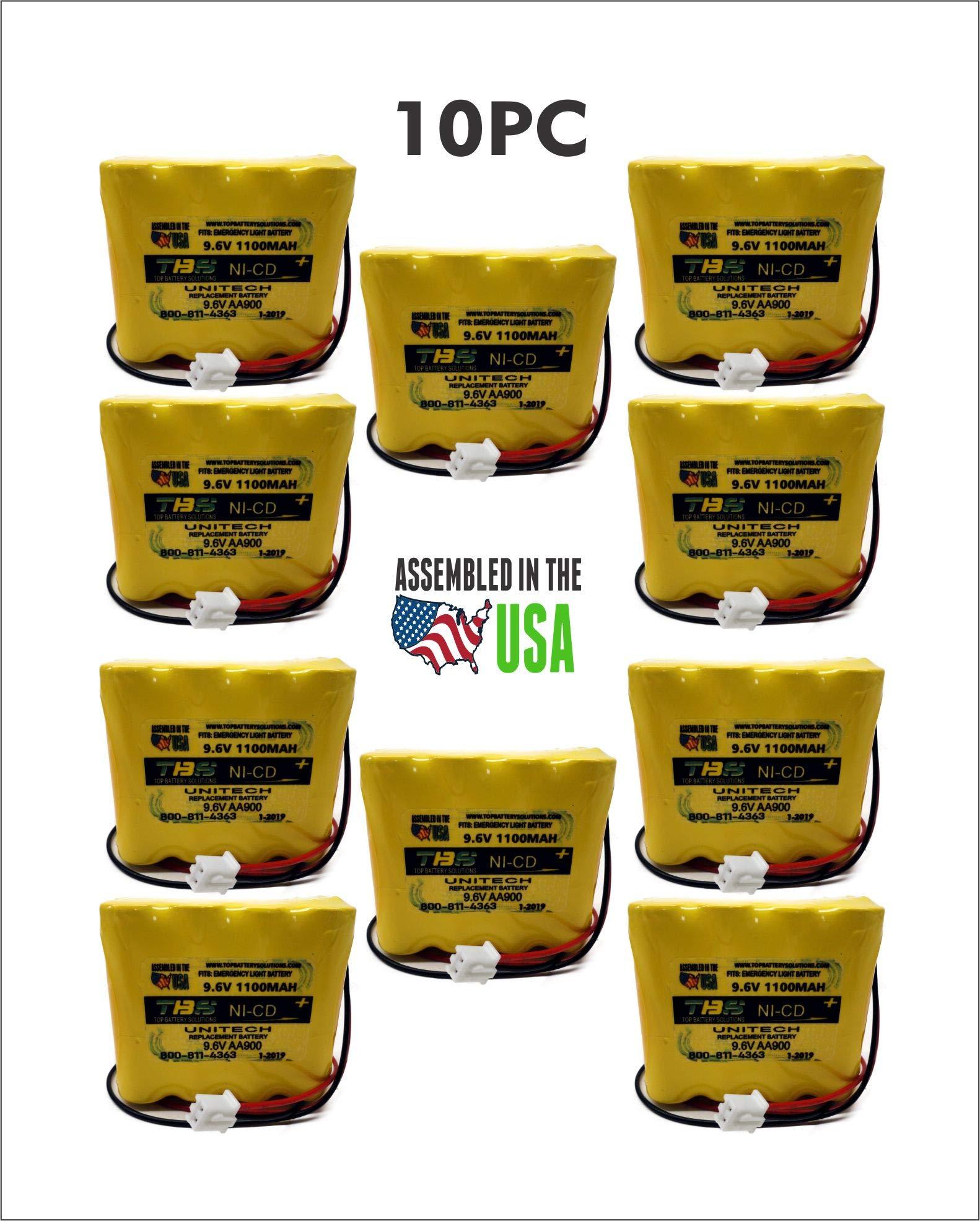 10PC Unitech AA900mAh 9.6V Battery Emergency Light 9.6V 1.1Ah NiCD