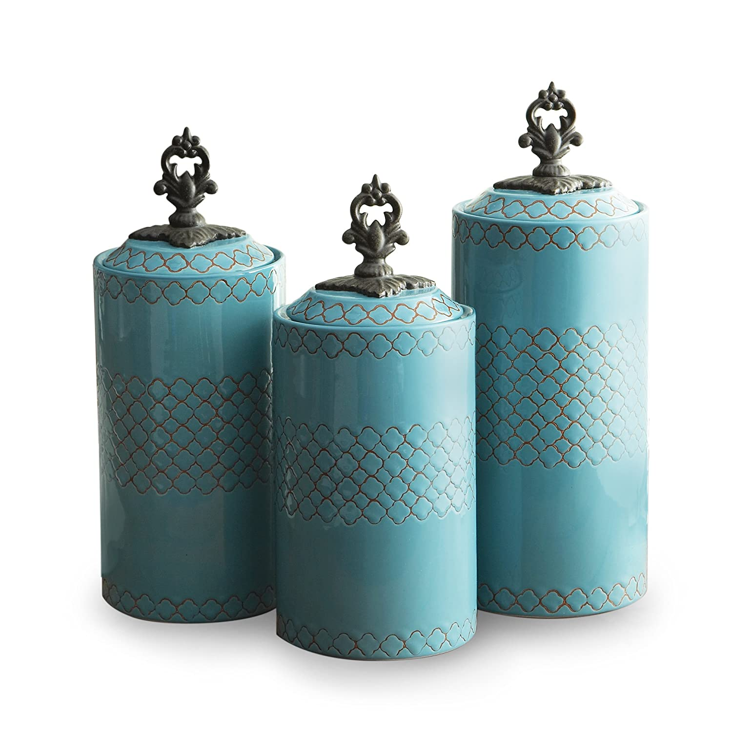 amazon com american atelier canisters blue set of 3 home kitchen