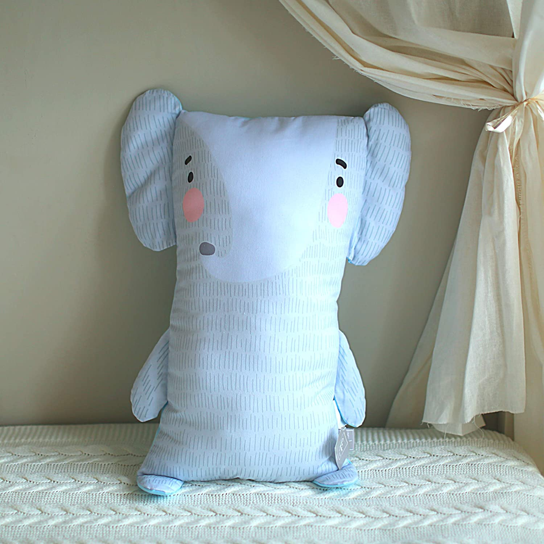 Kids Throw Pillow, Elephant Pillow for Baby, Toddler, Boys, Girls   3D Cute Pillow Buddy   24.4 inch Cotton Cuddle Hugging Body Pillow   Nursery Decorative Pillows Kids, Elephant Throw Pillows