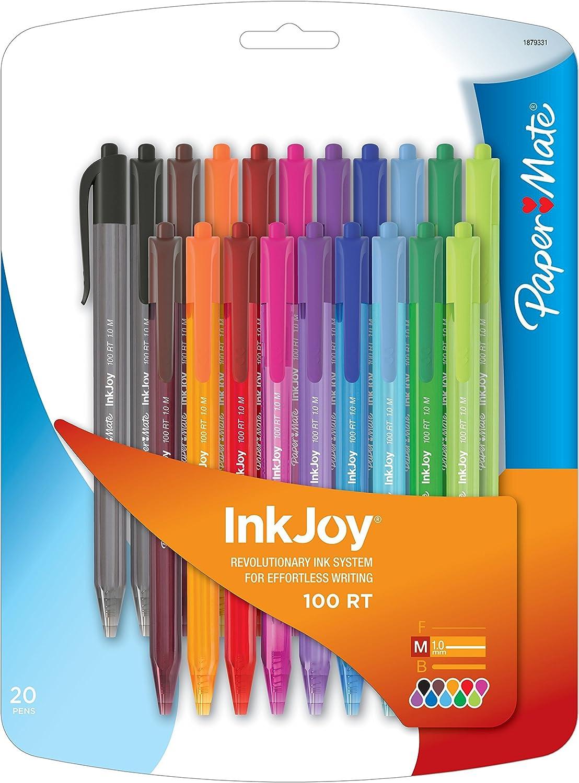 | gemischte Standardfarben 10 St/ück 1,0 mm mittlere Spitze Paper Mate InkJoy 100RT Retractable Kugelschreiber