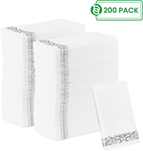 Party Bargains Disposable Linen-feel Paper Guest Towels | Durable & Decorative Cloth-like Soft Bathroom Hand Napkins | Excellent for Dinner, Wedding, Cocktail Party & More | White & Silver (200 Pack)