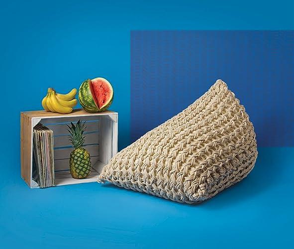 Modern Bean Bag Milky White Pouf Ottoman. Knitted Pouf. Accent Chair. Pouf  Cover