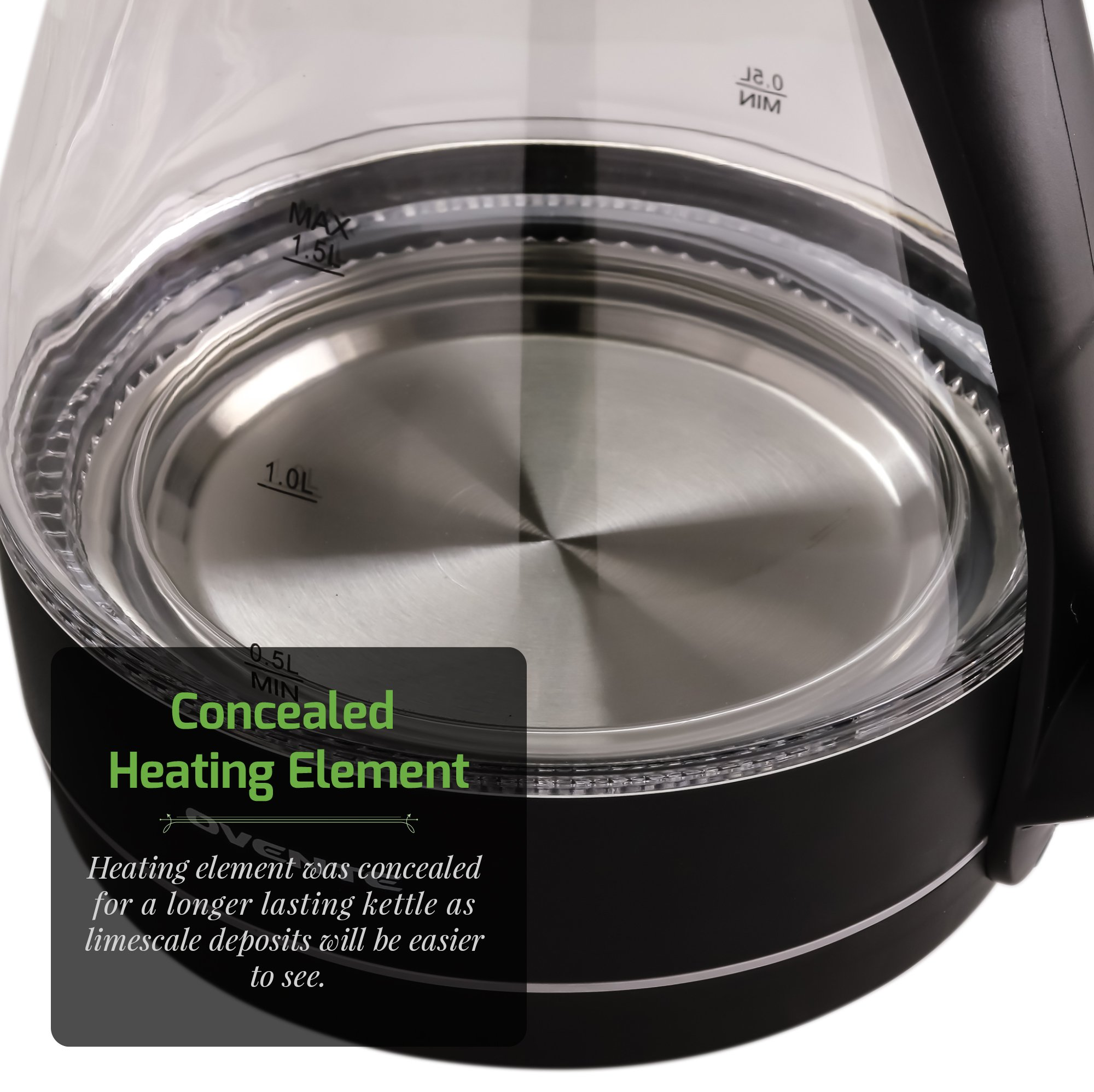 Ovente 1.5L BPA-Free Glass Electric Kettle, Fast Heating with Auto Shut-Off and Boil-Dry Protection, Cordless, LED Light Indicator, Black (KG83B) by Ovente (Image #4)
