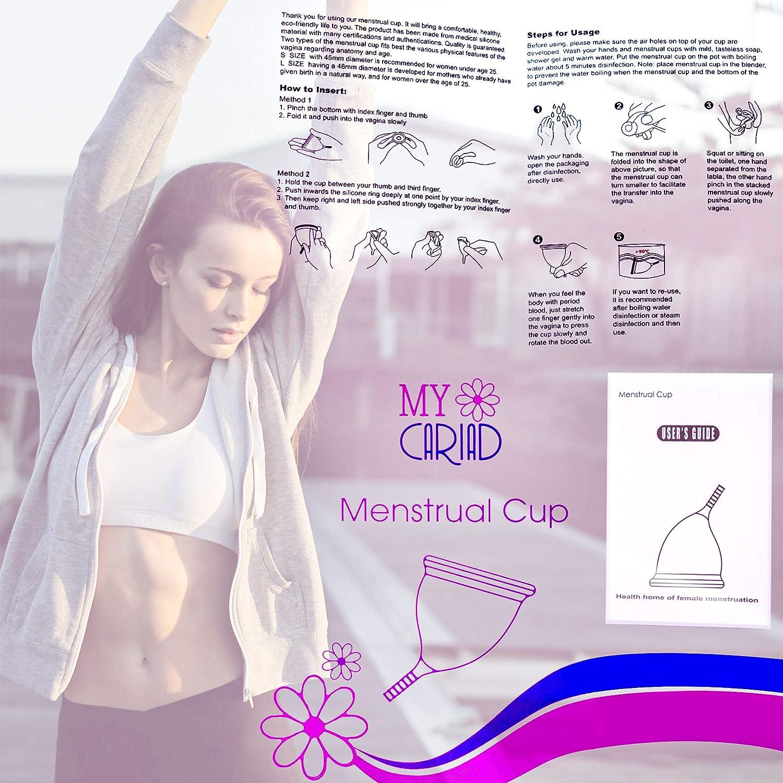 MyCariad Copa Menstrual, Amigable Con El Medio Ambiente, Reutilizable, Suave 100% Silicona De Grado Médico - Se Adapta Perfectamente A La Forma ...