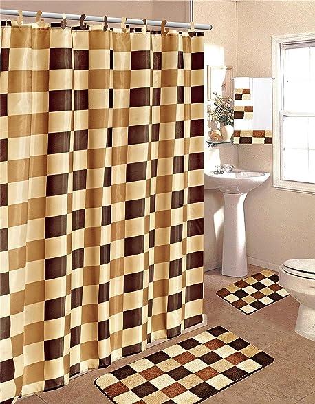 Brown U0026 Beige 15 Piece Bathroom Set Bath Rugs Shower Curtain U0026 Rings