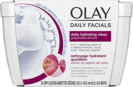 Olay Daily Facials, deeply purifying clean & 5-in-1 Cleansing power of a makeup remover, scrub, toner, mask and cleanser 66 Dry Cloths