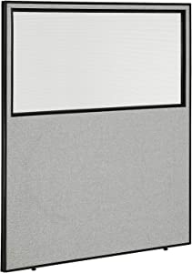 "60-1/4""W x 72""H Office Partition Panel with Partial Window, Gray"