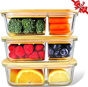 Glass Containers Bamboo Lids, Urban Green, Meal Prep Containers, Glass Food storage Containers, 2 Compartments, Pantry and Kitchen Organizer, Lunch Bento Box, Microwave-Freezer-Oven Safe, set of 3,