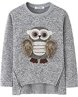 AuroraBaby Little Big Girls Sweatshirts Adorable Fuzzy Owl Pullover Long Sleeve Lining Fleece