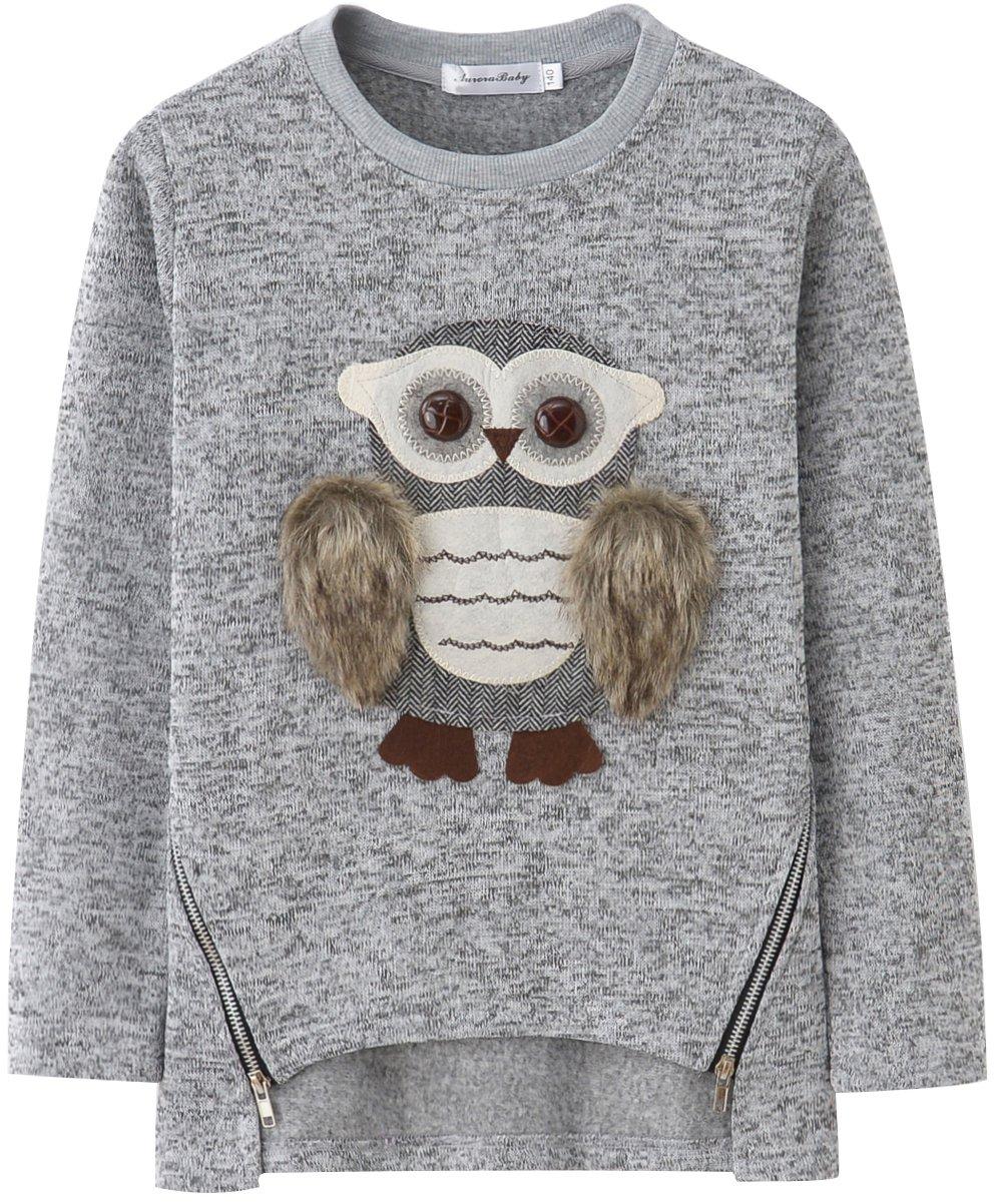 AuroraBaby Little Big Girls Sweatshirts Adorable Fuzzy Owl Pullover Long Sleeve Lining Fleece Size 7-8