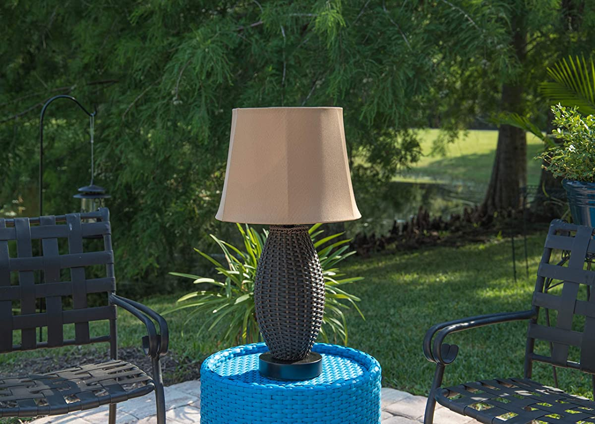 """Kenroy Home 32203BRZ Sunset Outdoor Table Lamp, 16"""" x 16"""" x 26"""", Bronze Rattan Finish"""