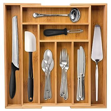 Ivation grande extensible de bambú organizador de cajones - dimensiones ajustable Multi Compartimiento Cubiertos y bandeja de utilidad para utensilios de ...