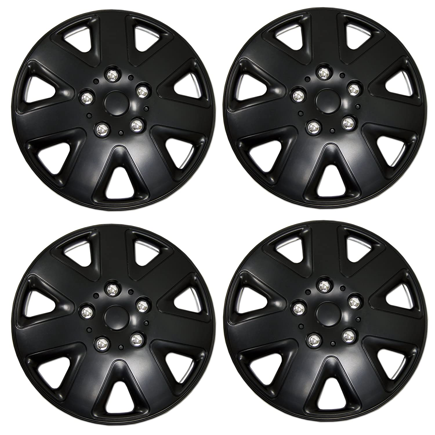 TuningPros WSC3-026B15 4pcs Set Snap-On Type (Pop-On) 15-Inches Matte Black Hubcaps Wheel Cover