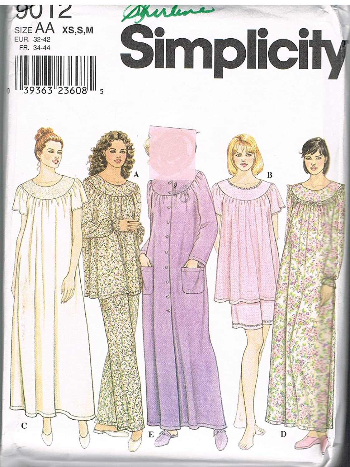 Amazon.com: Simplicity Womens Pajamas and Nightgown Sewing Pattern # 9012: Arts, Crafts & Sewing