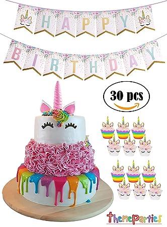 Kitchen, Dining & Bar Unicorn Pink Cake Topper Happy Birthday Party