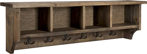 Sonoma 48 Reclaimed Wood Wall Mounted Entryway Coat Hook with 4 Storage Cubbies, Natural