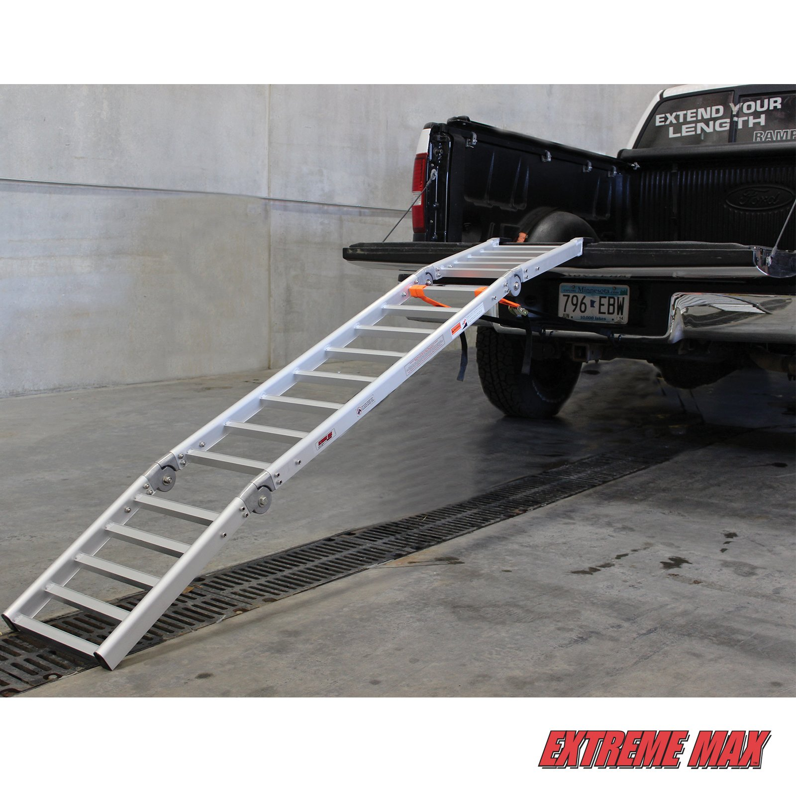 Extreme Max (NR002S-SLVR) Motorcycle RampXtender Aluminum Ramp Set and Tailgate Extender Combo by Extreme Max (Image #1)