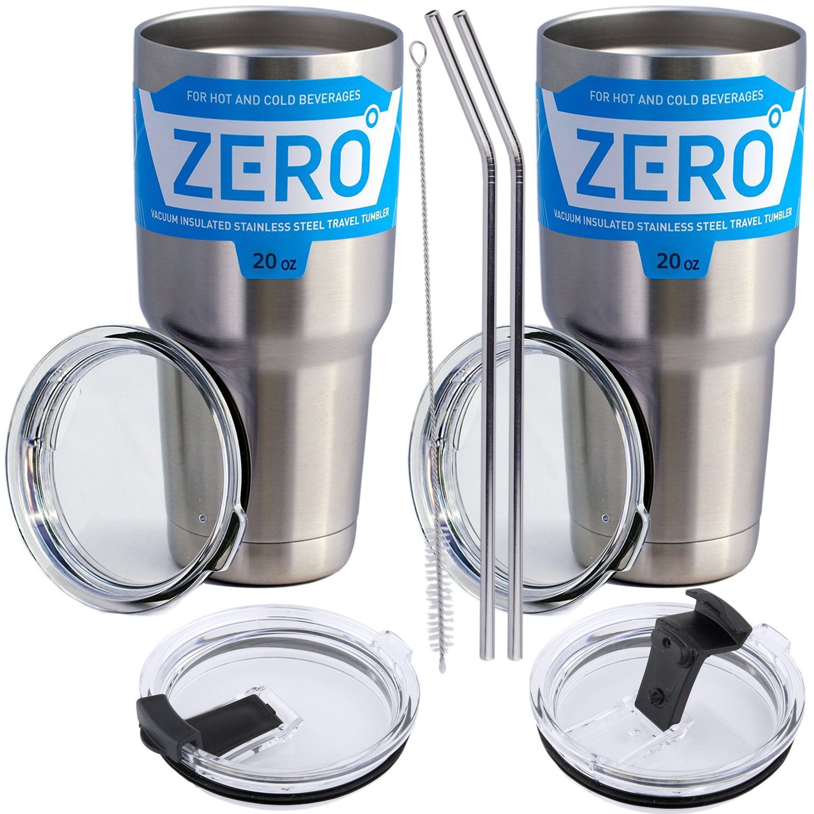 Stainless Steel Tumbler with Lid, Double Wall Vacuum Insulated Travel Mug for Hot and Cold Drink by Zero Degree (20oz Y Model 2 Pack)