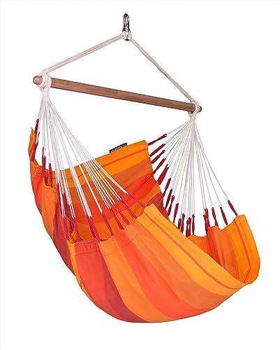 LA SIESTA Orqu dea Volcano – Cotton Basic Hammock Swing Chair with CasaMount Black Multipurpose Suspension