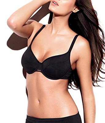 771761234ea70 Panache Holly Underwired Balcony Balconette Bikini Top Swimwear SW0622 -  Black  Amazon.co.uk  Clothing