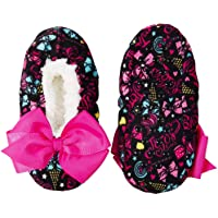 Nick Jr JoJo Siwa Girls Slipper Socks Babba Slippers (S/M Fits Shoe Size 8-13, Black with Bow Print)
