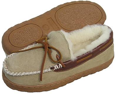 120d6c2ebdce2 Ciabatta's Men's Shearling Lined Moccasin House Shoe Slipper - Tan/Brown ...