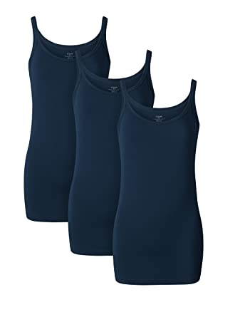 299592e5d0a0ca Genuwin Womens Tank Top Bamboo Rayon Camisole Casual Cami Tops 3 Pack (Navy  Blue
